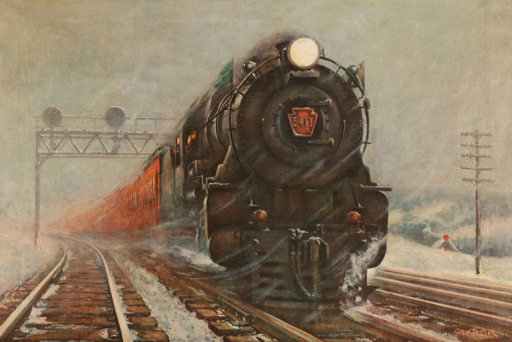 "The 1932 painting ""On Time!"" by Griff Teller was part of a series of paintings commissioned for the PRR's annual calendar. Reproduced countless times author Dan Cupper wrote in the book ""Crossroads of Commerce"" that Teller's celebrated painting, ""stirs a longing for - and makes a powerful statement about - railroading that melts boundaries of time and geography."" This painting was an image used time and time again to illustrate the ability of the Pennsylvania, particularly in the Holiday season. Grif Teller reproduction collection of the Author"