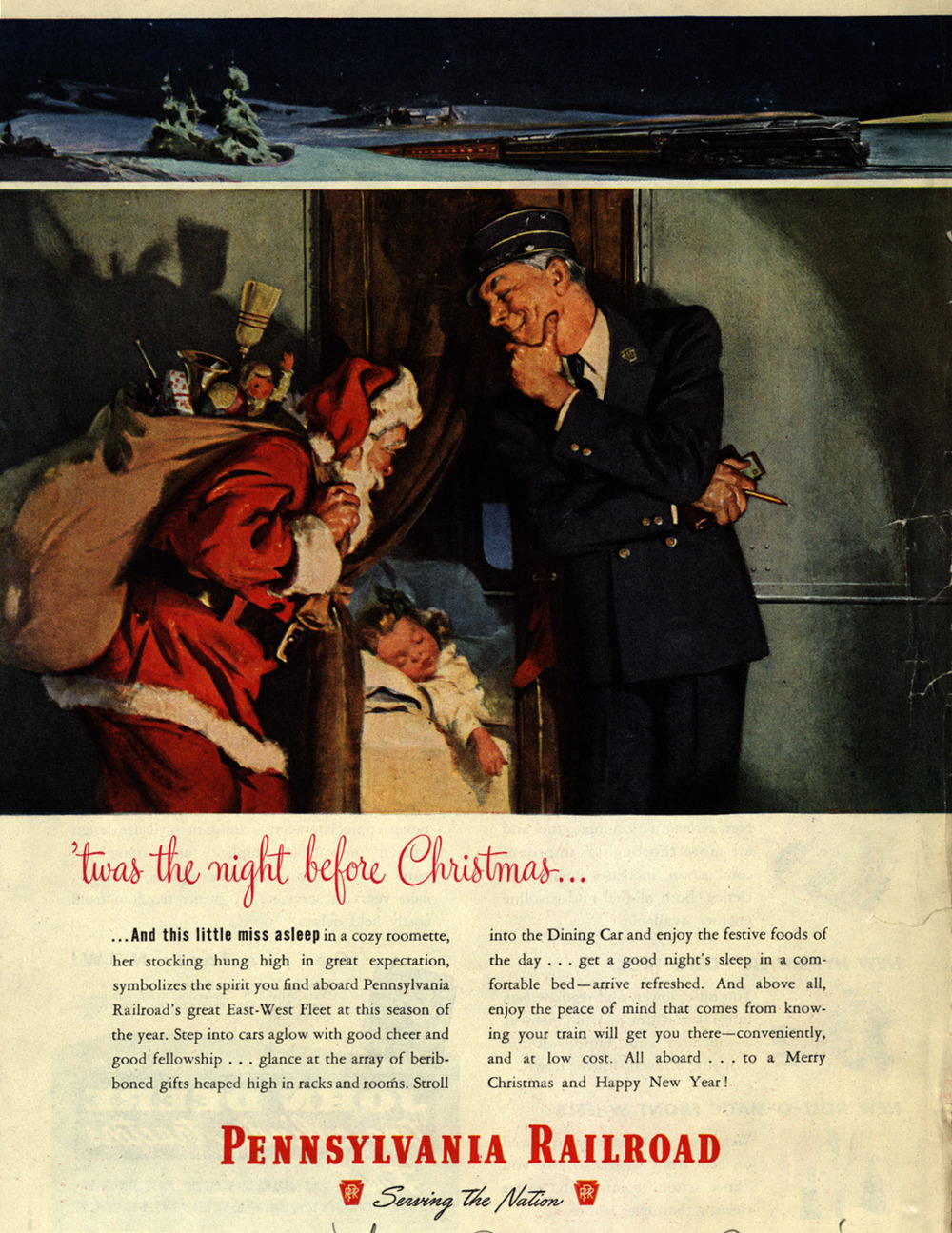 1948 holiday advertisement for the Pennsylvania Railroad.