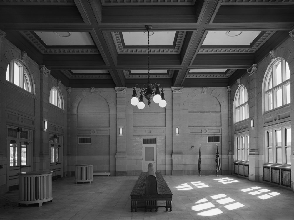 Northbound waiting room, Pennsylvania Station, Wilmington, Delaware. This remarkable space is part of the 1907 Frank Furness station in the city of Wilmington and is one of two new images included in the Professional Artist members Exhibition.