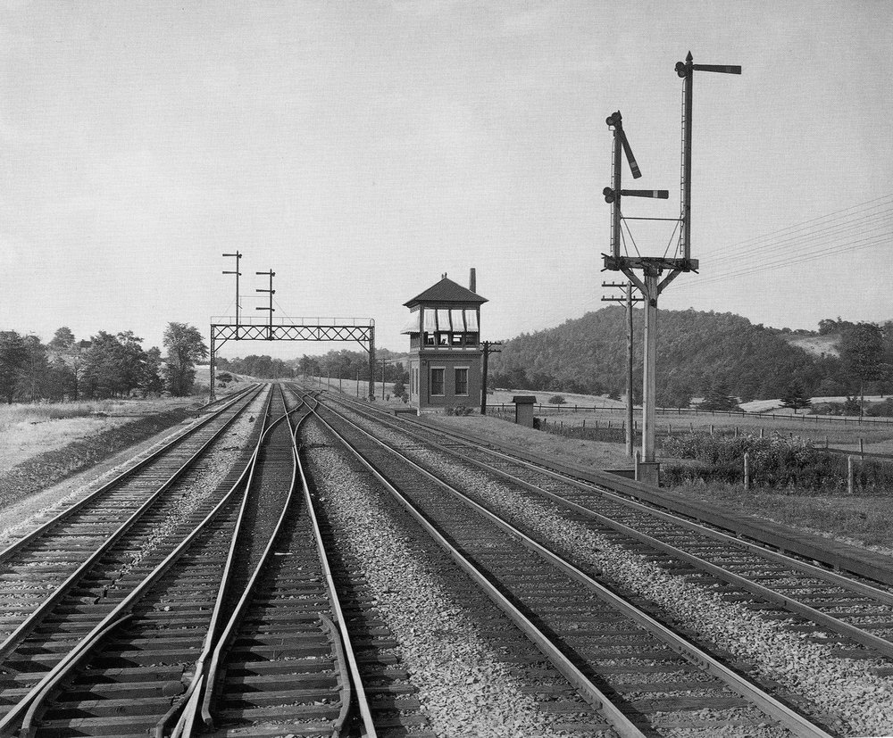 Plate 36. B.Q. Tower and Signals - Bellewood, Pennsylvania, Middle Division (III-895), William H Rau, Altoona Public Library Collection. One of 27 images currently on display in the exhibition William H. Rau: Urban, Rural, Rail at the Southern Alleghenies Museum of Art - Altoona.