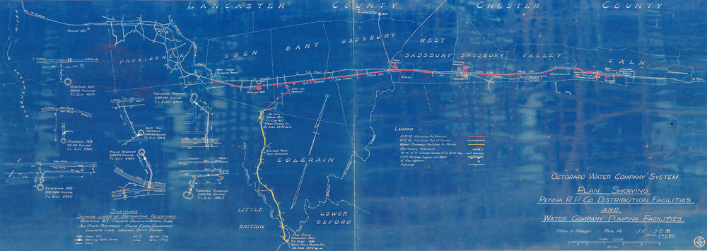 A 1938 facilities map depicting the Octotraro Water Company's distribution system that served the PRR Mainline and Atglen & Susquehanna Branch, which included seven water stations. Collection of Pennsylvania American Water Company, Hershey, PA.