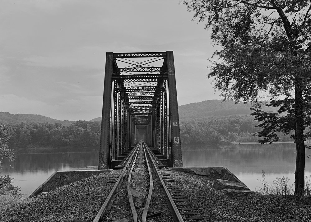 Former Pennsylvania Railroad Pratt truss bridge spanning the Susquehanna River. Selinsgrove, Pennsylvania.