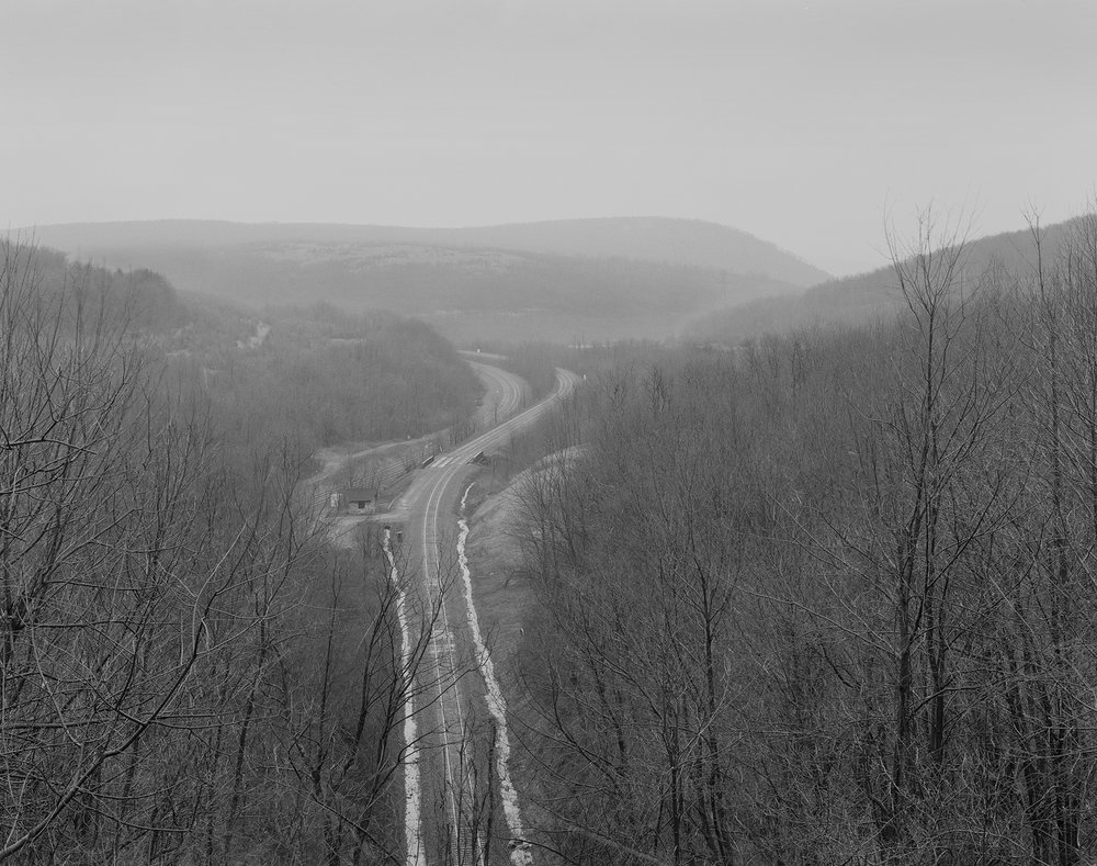 View eastward from atop of Tunnel Hill, where Thomson faced the challenge of building the line through solid rock requiring cuts and tunnels nearing the Summit.