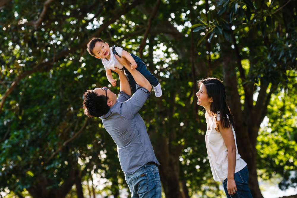 Happy family photograph in park