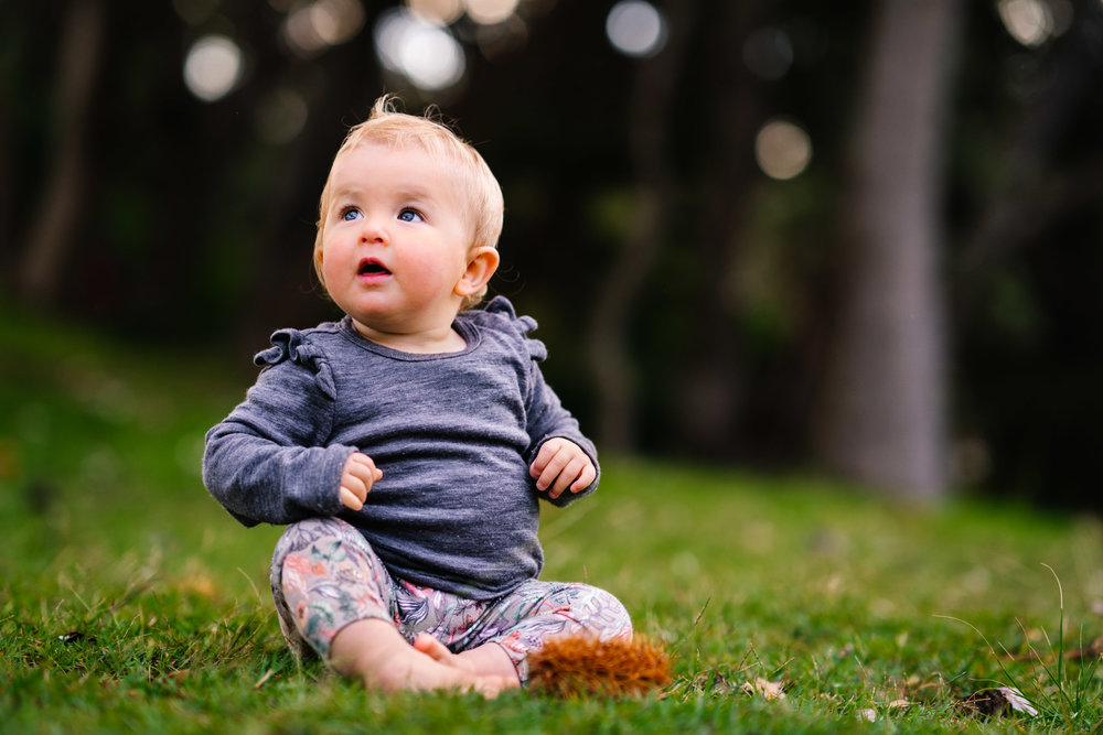 Baby girl sitting on the grass during Sydney family photography session