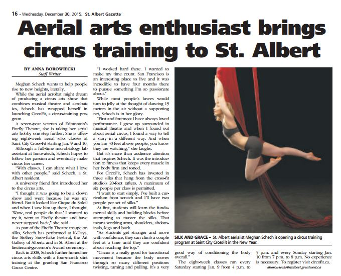 St. Albert Gazette, December 30, 2015, interview by Anna Borowiecki.