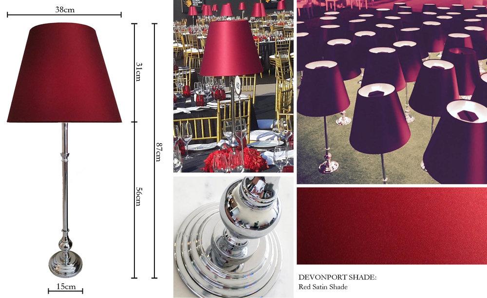 The Devonport - Red Table Lamp