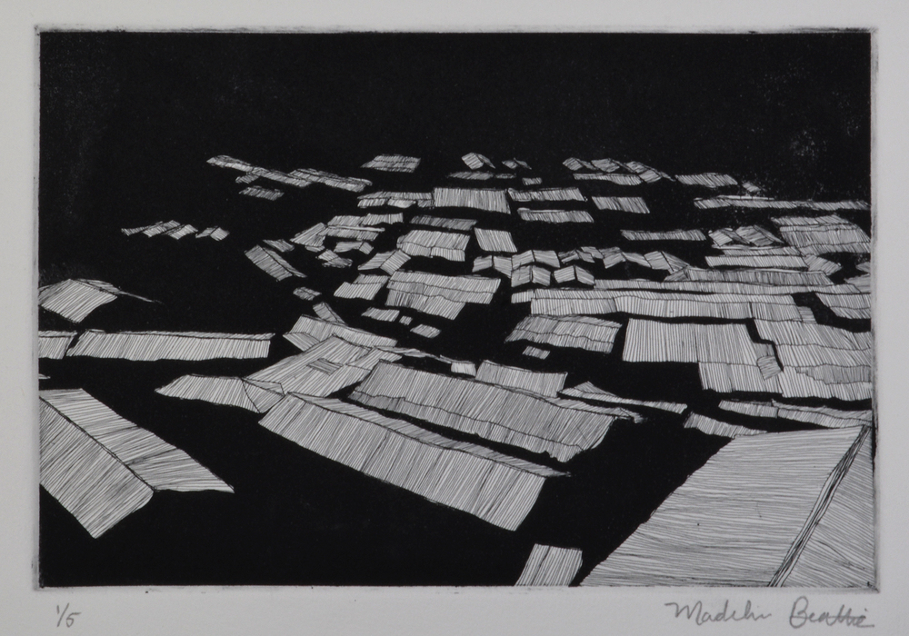 """Shack Town  14.5"""" x 12.5""""  Etching and Aquatint  2014"""