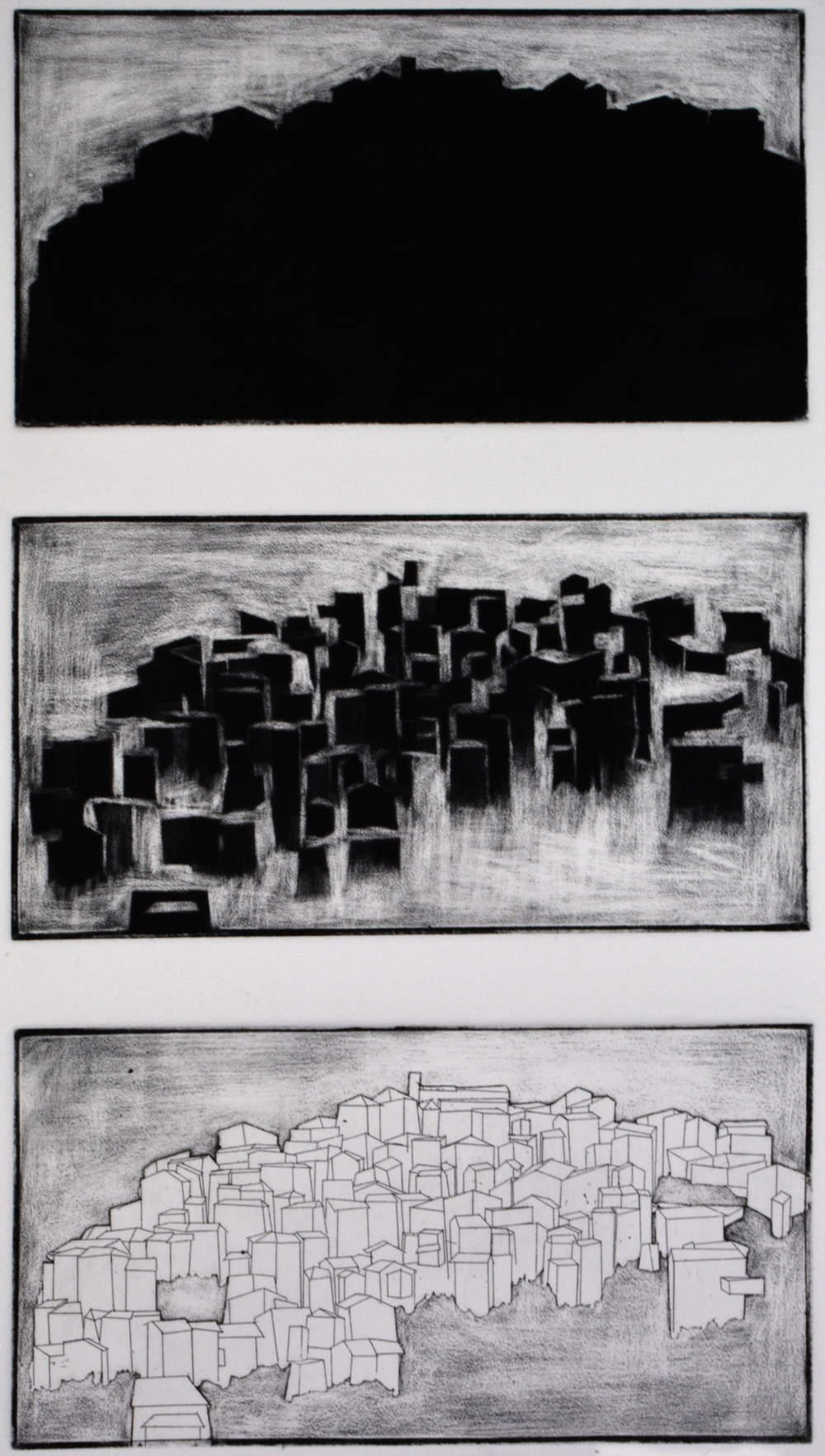 "Triptych  8"" x 15""  Etching and Aquatint  2014"