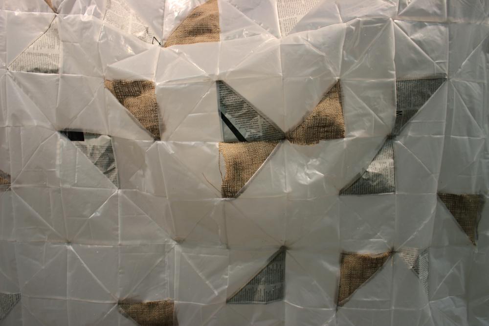 Quilt (Detail)  Plastic, Burlap, Paper, and Thread  2014