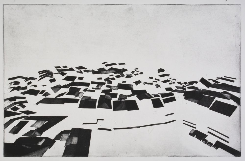 """Square Study  Etching and Aquatint  18.5"""" x 12""""  2014"""