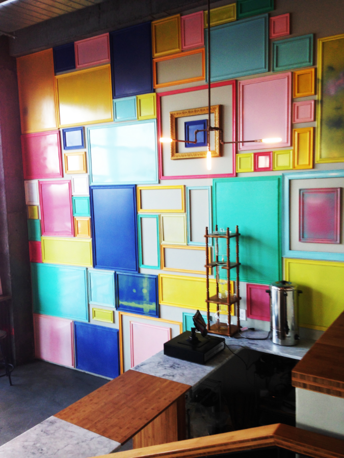 Colorful frames on Cafe Presso's wall