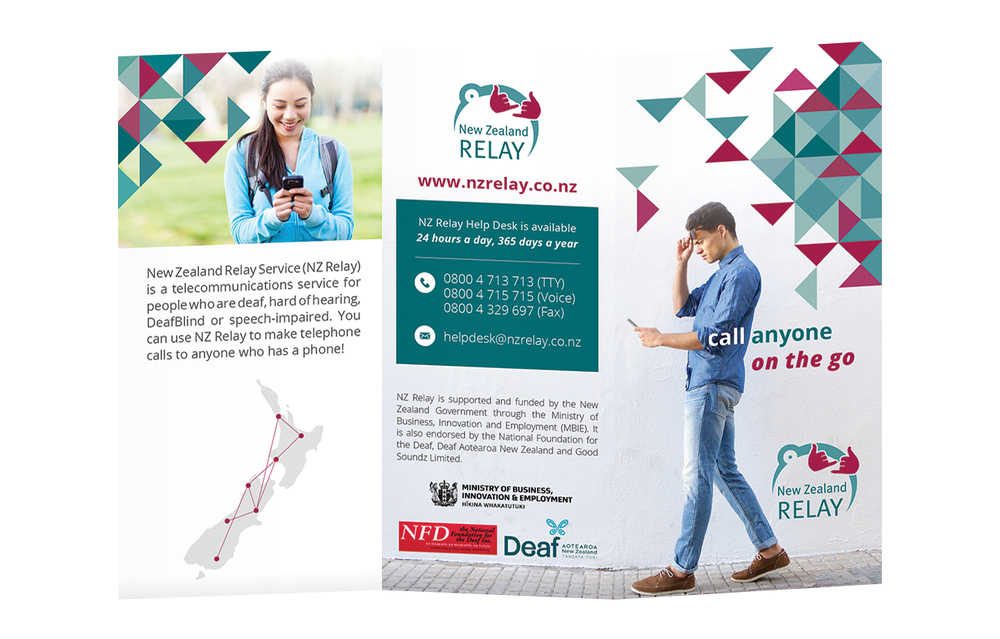 Design Option 1 for Front Cover of NZ Relay Brochure