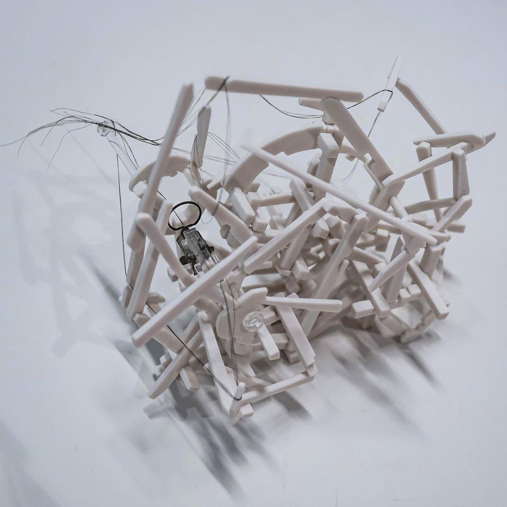 Slip (2017)- hand-built porcelain, hair, filaments