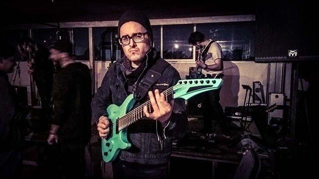 Marius en @collectivemooi Check out www.losaudionautas.com regram @audionauta With the @aristidesguitars seven string guitar, cooool man 😎 gracias @dansilvaph por la foto ! @pauldemaio #AristidesGuitars #AristidesDay #sevenstring #guitar #guitarist #audionautas #musicianslife #instamood #mooicollective #guitarporn