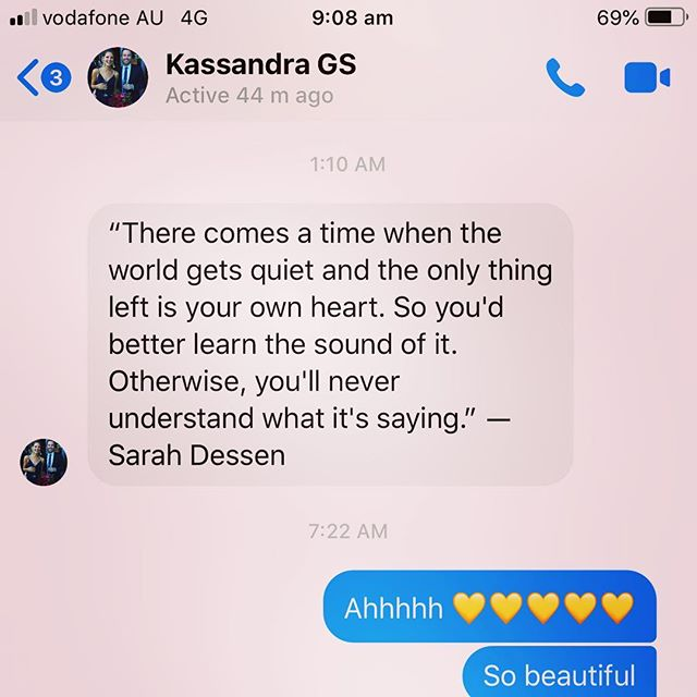 Got this little love bomb from Kassa this morning. Just as I was thinking about how busy and rushed we all are. Never sure if we are dying for some solitude or running away from it. Either way, through choice or circumstance... at some point we all need to stop, be still and listen in. What are your ways for hearing your own heart?  #listenin #bestill  #selflove #selfcompassion #meditation #mindfulness #theanswersliewithin #innerpeace