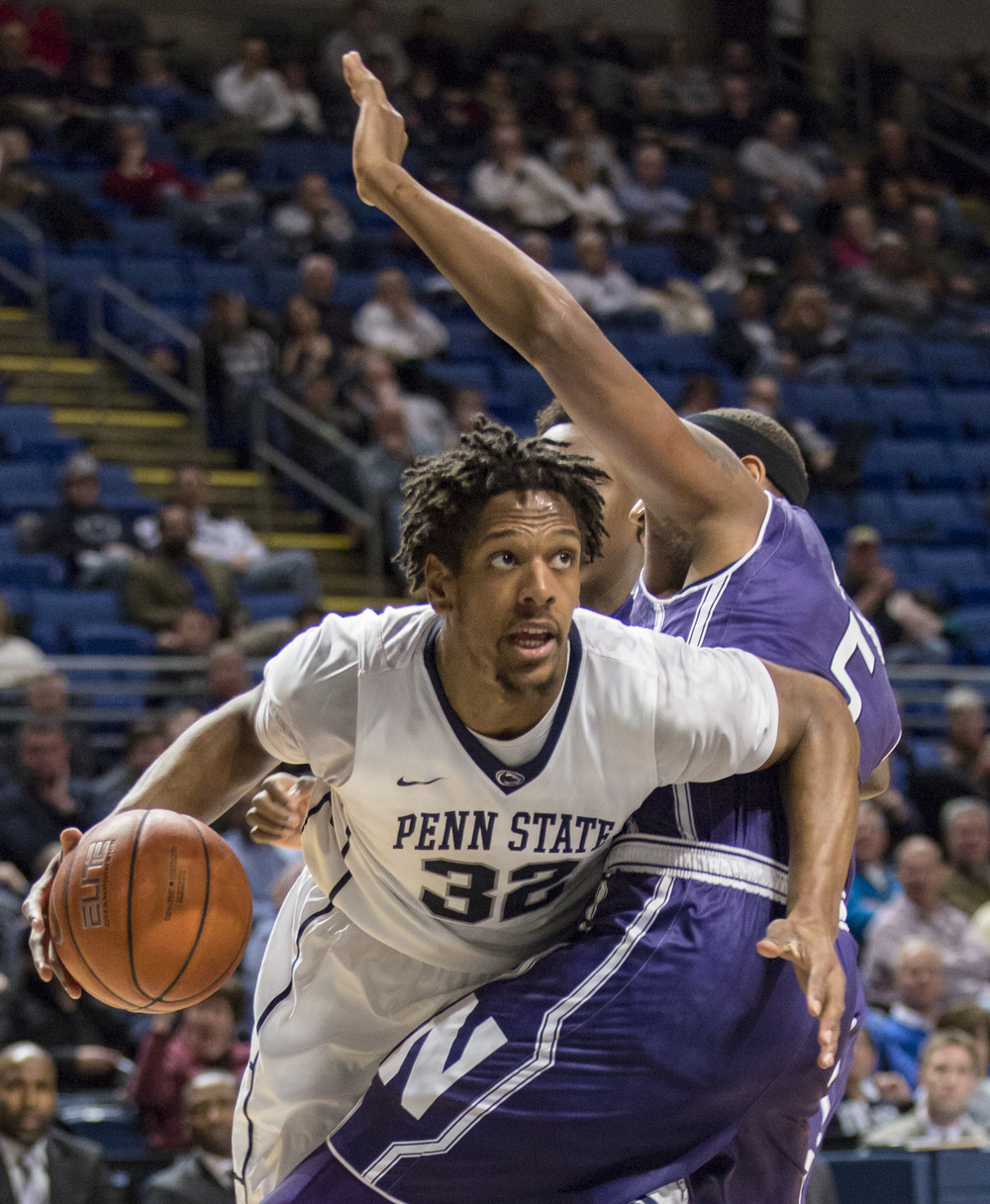 Senior center Jordan Dickerson pushes around Northwestern center Dererk Pardon in the first half of the game at the Bryce Jordan Center on Thursday, March, 3, 2016.
