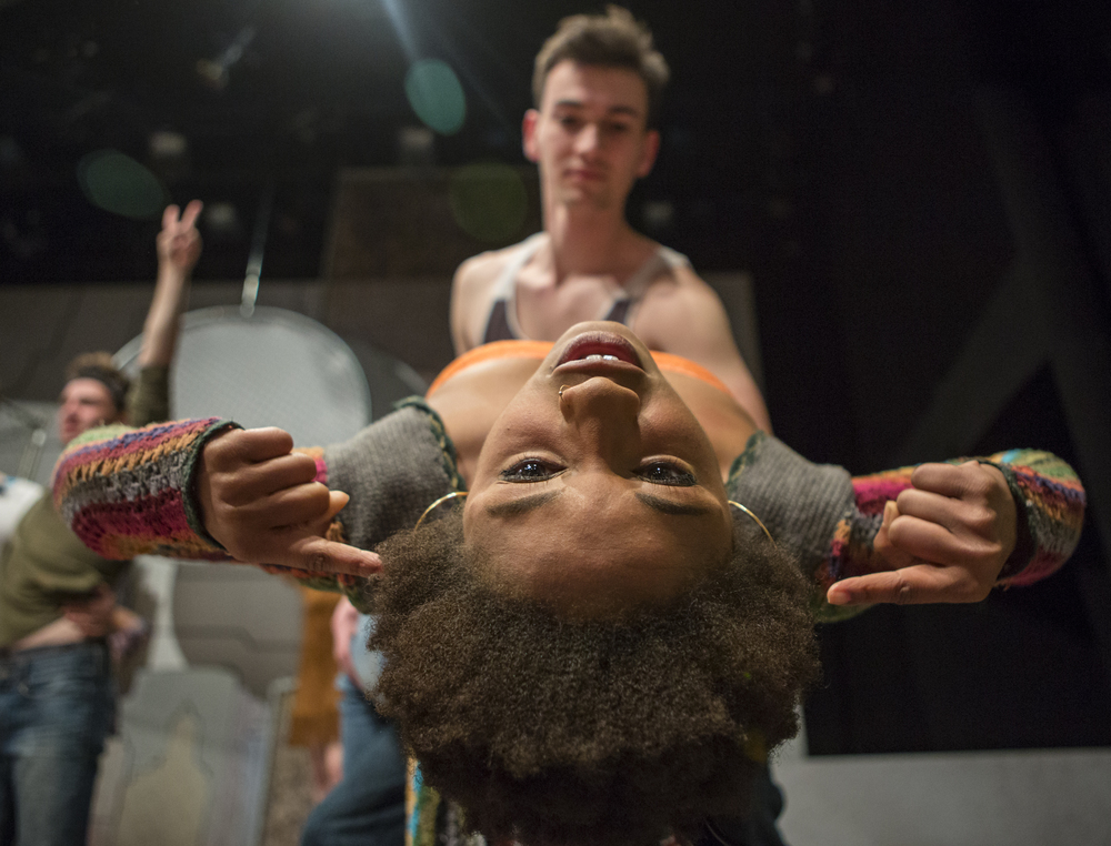 Brinie Wallace (senior - musical theatre), front, is dipped by Benjamin Nissen (sophomore - musical theatre) as part of the media day for Hair presented by Penn State Center Stage at the Penn State Downtown Theatre Center on Wednesday, March 16, 2016.
