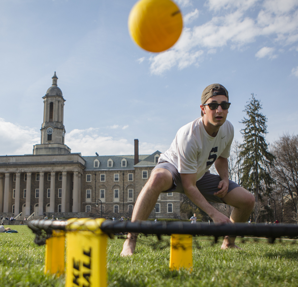 Max Kalick (sophomore - mechanical engineering) plays Spike Ball with a few friends on the Old Main Lawn on Wednesday, March, 24, 2016.