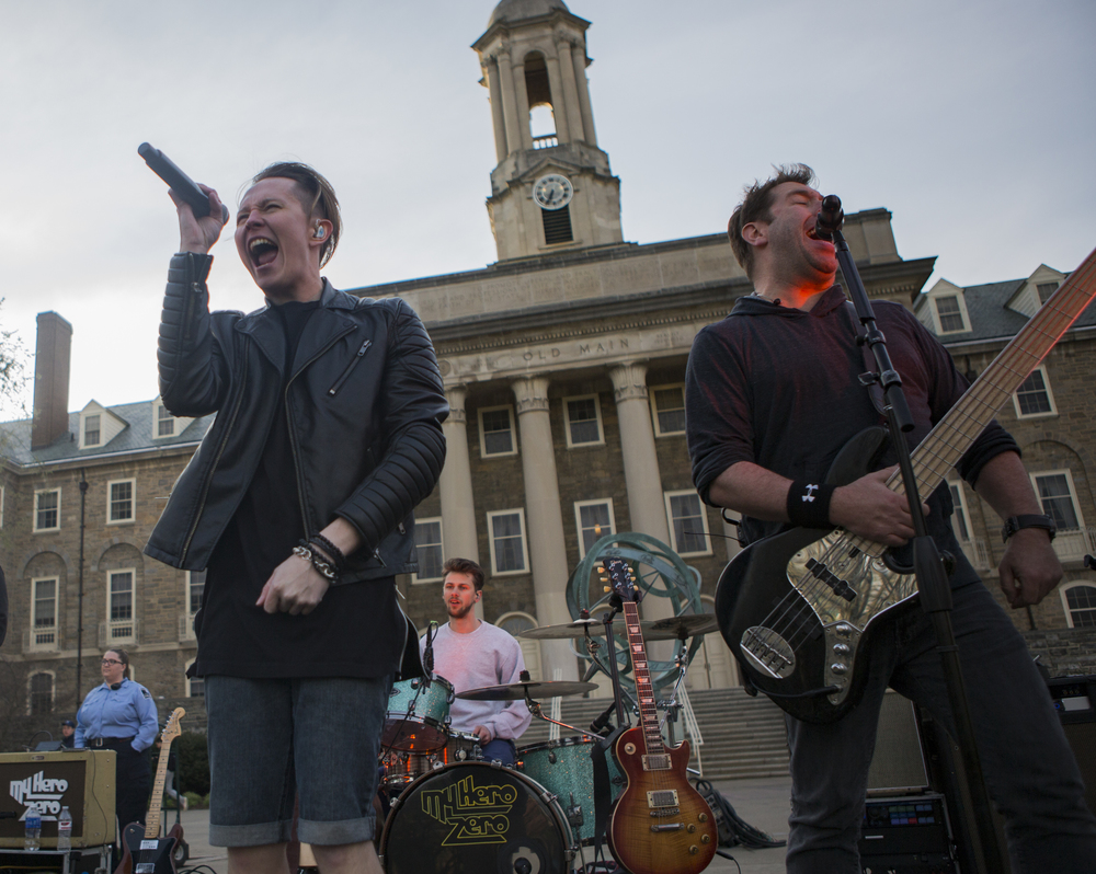 Members of local State College band My Hero Zero perform on the lawn of Old Main as part of PSiheartU week leading up to Blue and White weekend on Wednesday, April, 13, 2016.