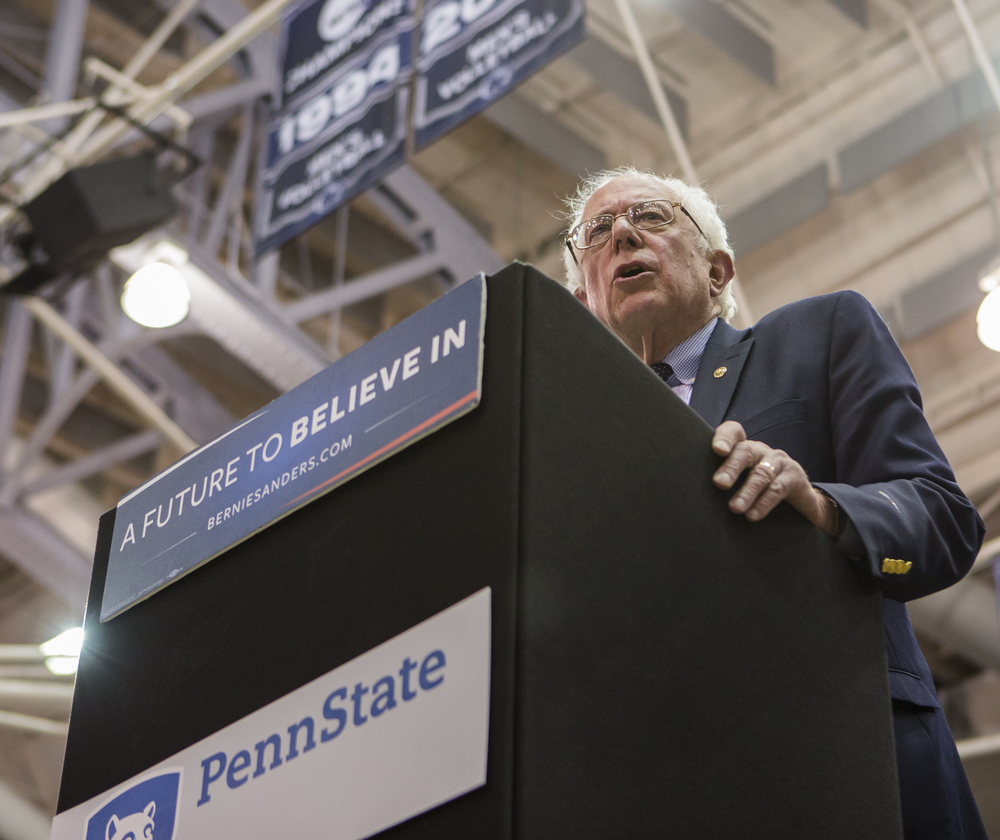 Democratic presidential candidate Sen. Bernie Sanders speaks to his supporters during the rally held in Rec Hall on Tuesday, April 19, 2016.