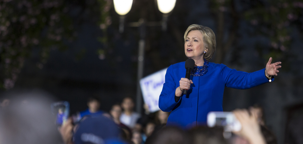 Democratic presidential candidate Hillary Clinton speaks in the courtyard of Philadelphia City Hall during her campaign rally on Monday, April 25, 2016.