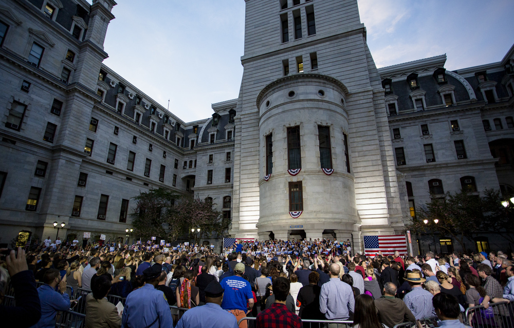 Supporters of Democratic presidential candidate Hillary Clinton gather in the courtyard of City Hall in Philadelphia for her campaign rally on Monday, April 25, 2016.