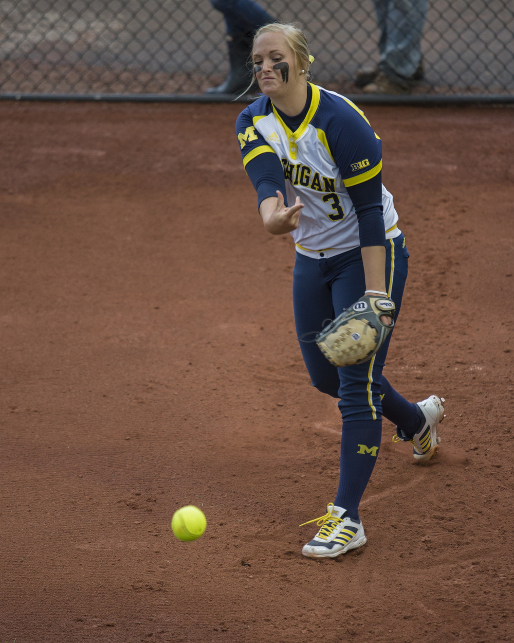 University of Michigan pitcher Megan Betsa warms up in the bullpen before the team's semifinal matchup with Penn State in the Big Ten Tournament at Beard Field on Saturday, May 14, 2016. Michigan won the game 7-1.