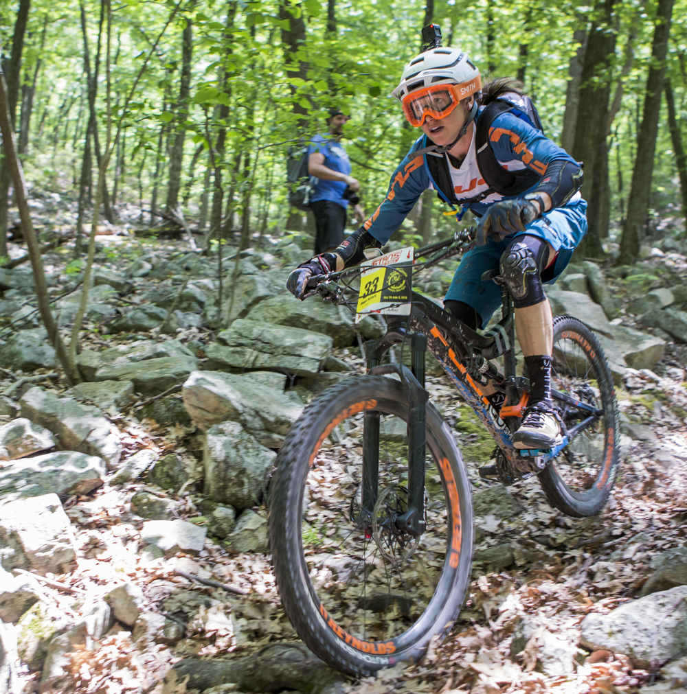 Meggie Bichard rides through the fourth enduro on the Wildcat Gap trail in Rothrock State Forest in the third stage of the Tran-Sylvania Epic Mountain Bike Ride on Wednesday, June 1, 2016