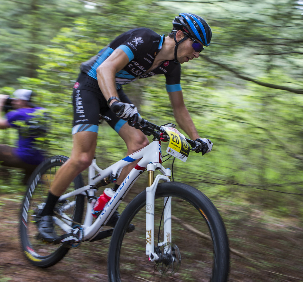 Kerry Werner Jr. of the Rally Cycling team pedals from the first enduro section in the fourth stage of the Tran-Sylvania Mountain Bike Ride in R.B. Winter State Park on Thursday, June 2, 2016.