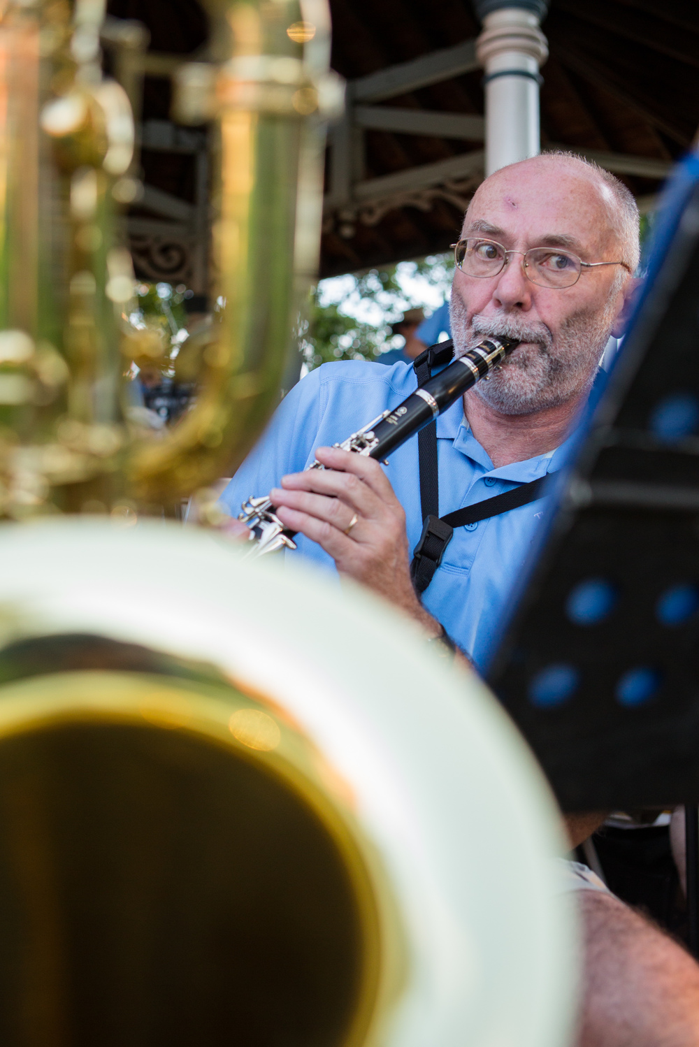 Clarinet and baritone saxophone player Michael Dooris performs with The Second Winds at the gazebo in Talleyrand Park in Bellefonte on Sunday, Aug. 7, 2016.