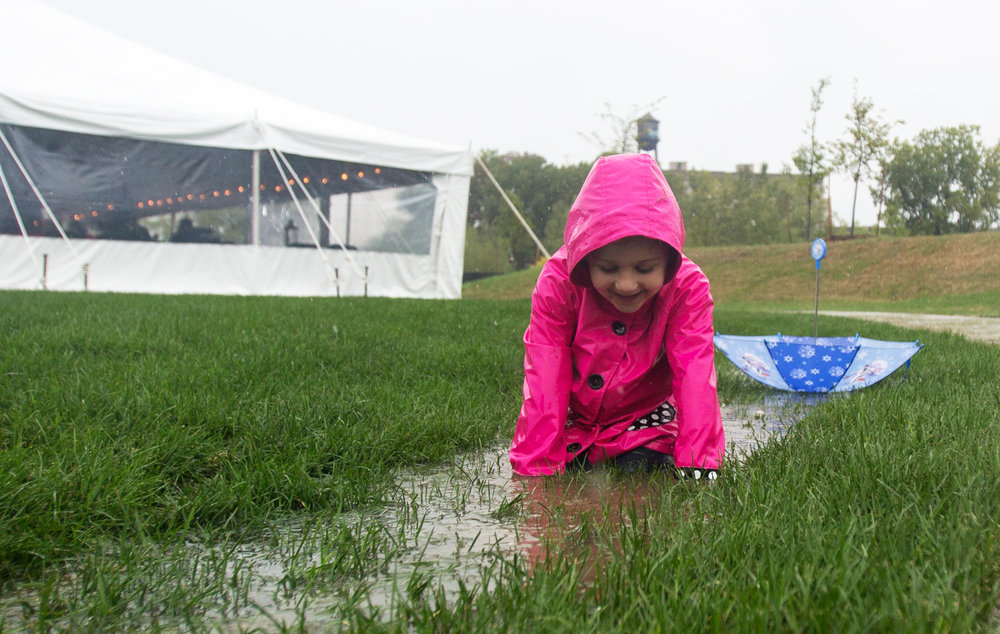 Sloan Wilkenson, 4, of Toledo plays in one of the puddles created by the steady rain while visiting the newly opened Middlegrounds Metropark in downtown Toledo with her father and brother on Saturday, Sept. 17, 2016.