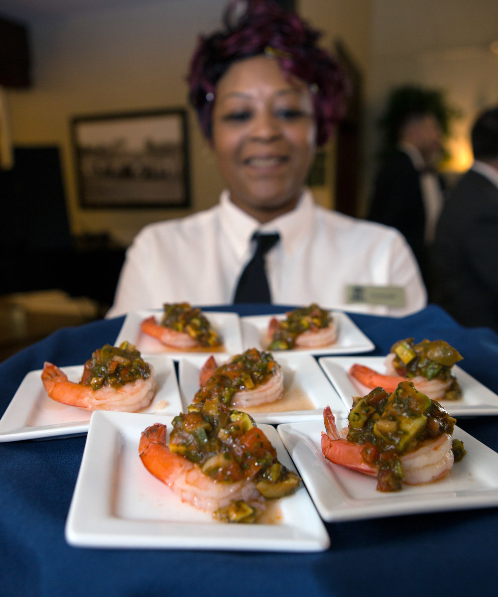Giant Shrimp Pacifico dos d'oeuvres plated and ready to serve to guests of Key Private Bank's annual celebrity chef dinner featuring Pati Jinich at the Inverness Club in Toledo on Thursday, Oct. 6, 2016.