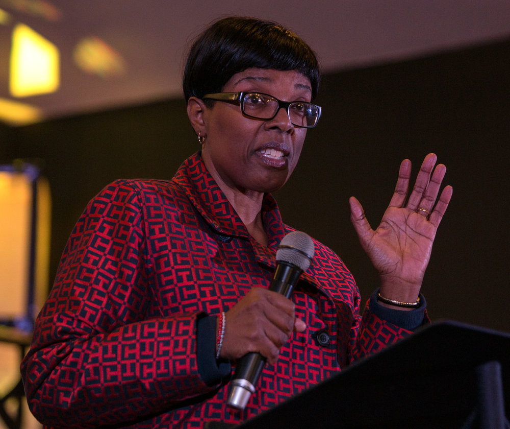 Executive director of Lucas County Children Services Robin Reese speaks about how the heroin and opiate epidemic is causing an influx of children in protective care during the Tabernacle's monthly Life University on Pinewood Ave. in Toledo on Tuesday, Oct. 25, 2016.