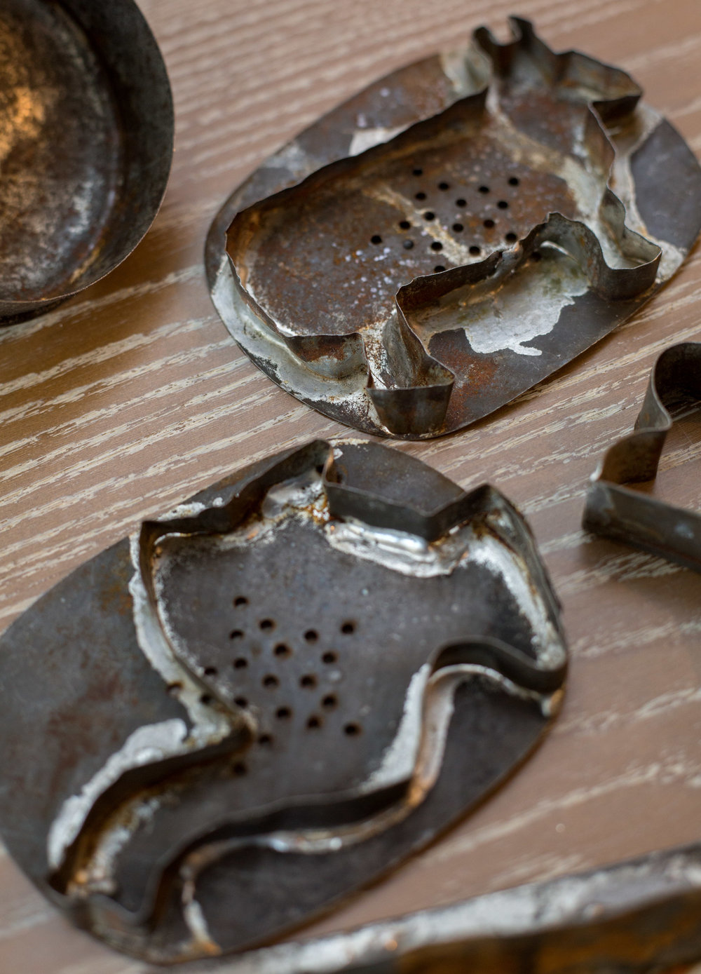 The cookie cutters dating back to the late 1800's crafted by Amy Bless's great-grandfather to be used with the family anise cookie recipe in Perrysburg, Oh. on Friday, Nov. 11, 2016.