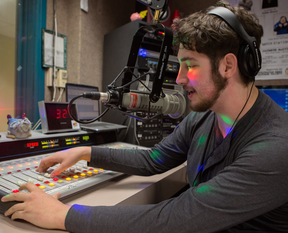Branden Bonner (senior - commercial music technology) of Clarion, Pa. runs through a station identification at the WCAL studio in the Natali Student Center on Wednesday, Nov. 9, 2016.