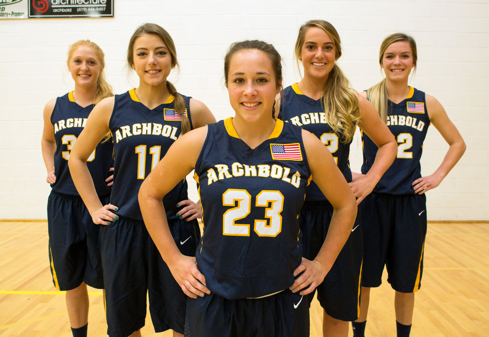 The top 5 players for the Archbold girls basketball team favored in the NWOAL Morgan Miller (30), Alyssa Ziegler (11), Kamryn Hosteler (23), Andi Peterson (22), and Kierstyn Repp (32) photographed at Archibald High School on Friday, Nov. 18, 2016.