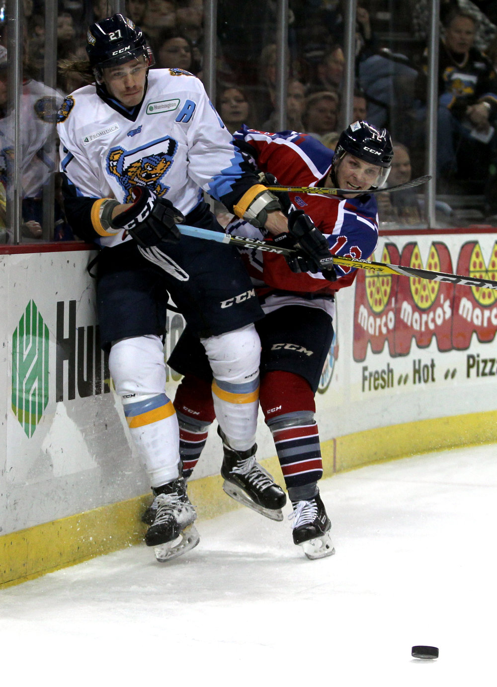 Toledo Walleye forward A.J. Jenks (27)  is checked into the boards by Kalamazoo Wings defender Sean O'Rourke (12) during the hockey game at the Huntington Center in downtown Toledo, Oh.  on Saturday, Nov. 19, 2016. The Walleye won the game 6-2.