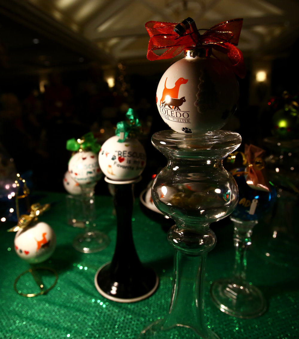 Custom made Toledo Animal Shelter christmas ornaments for sale at the Toledo Animal Shelter holiday dinner held at the Inverness Club in Toledo on Wednesday, Dec. 7, 2016.