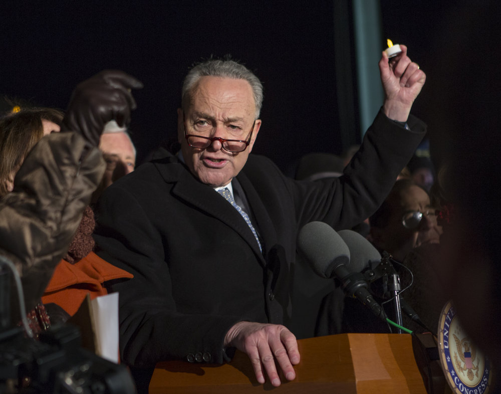 Senate Minority Leader Chuck Schumer (D-N.Y.) speaks during the rally organized by democratic lawmakers against President Trump's executive order involving immigration and travel to select countries.