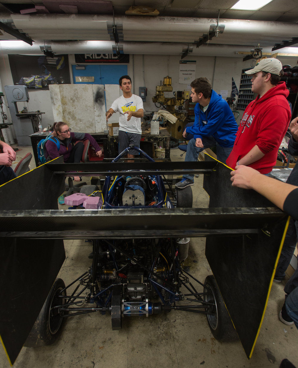 Aerodynamics group lead Jonathan Lesiecki leads a meeting for new team members interested in joining the aero group in the Formula SAE team lab in the University of Toledo's North Engineering Building.