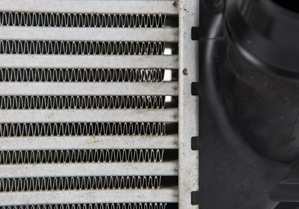 A closeup of the fins an fin spacing on the stock F30 intercooler.