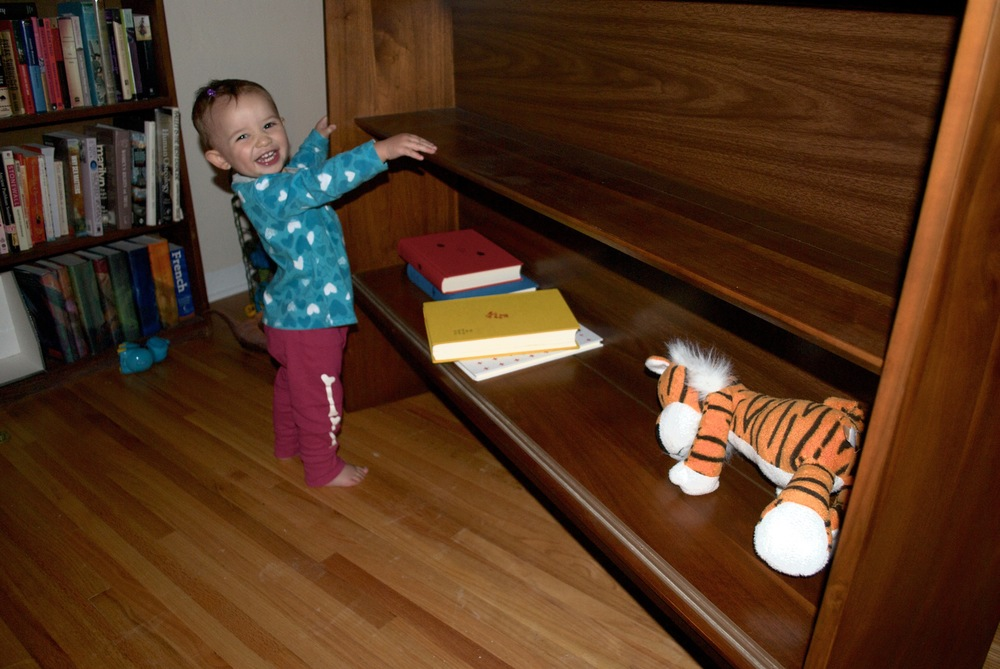 "I said, ""We're going to put important things in here."" Iris scurried around the living room and collected Hobbes and books. This toddly has her priorities straight."