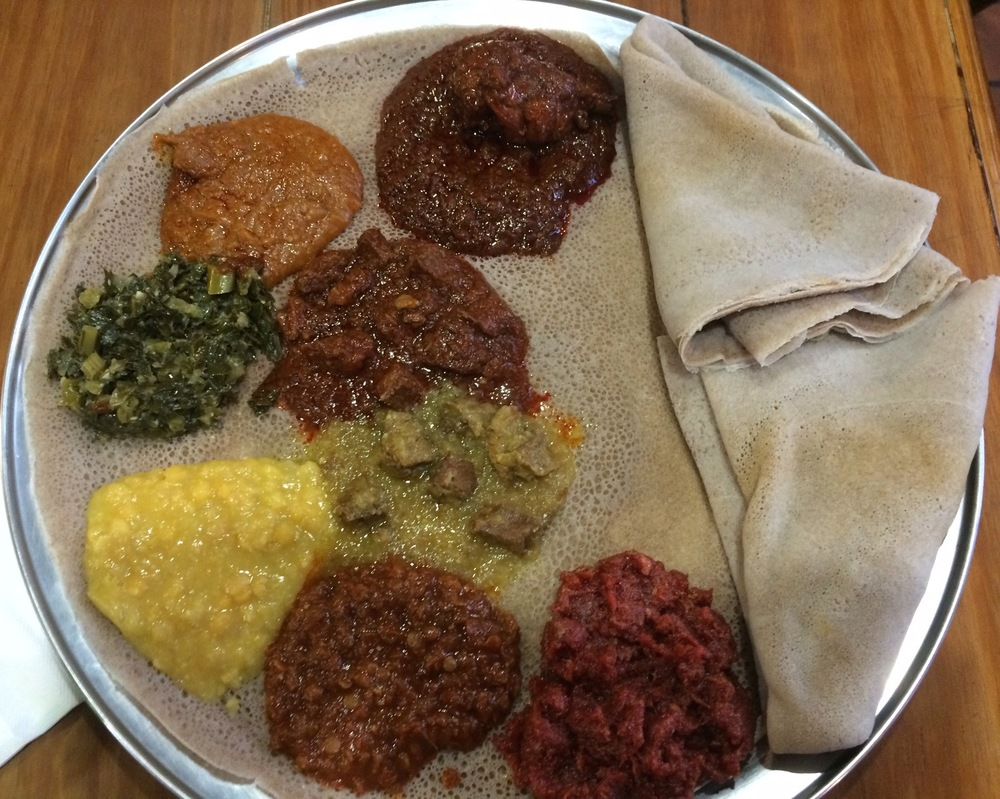 Ethiopian food in all its sloppy glory.