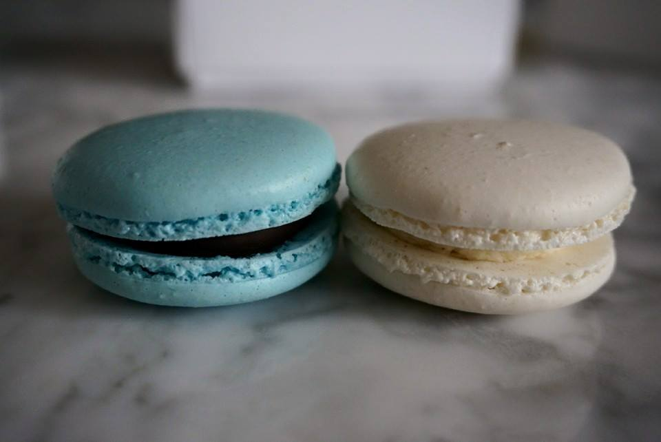 Blue and White Macarons