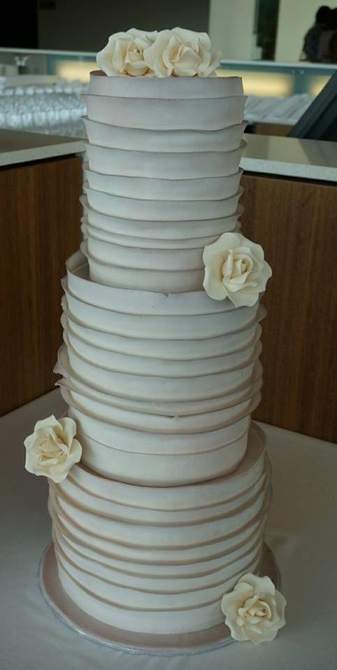 Ruffle Pearl Shimmer Wedding Cake