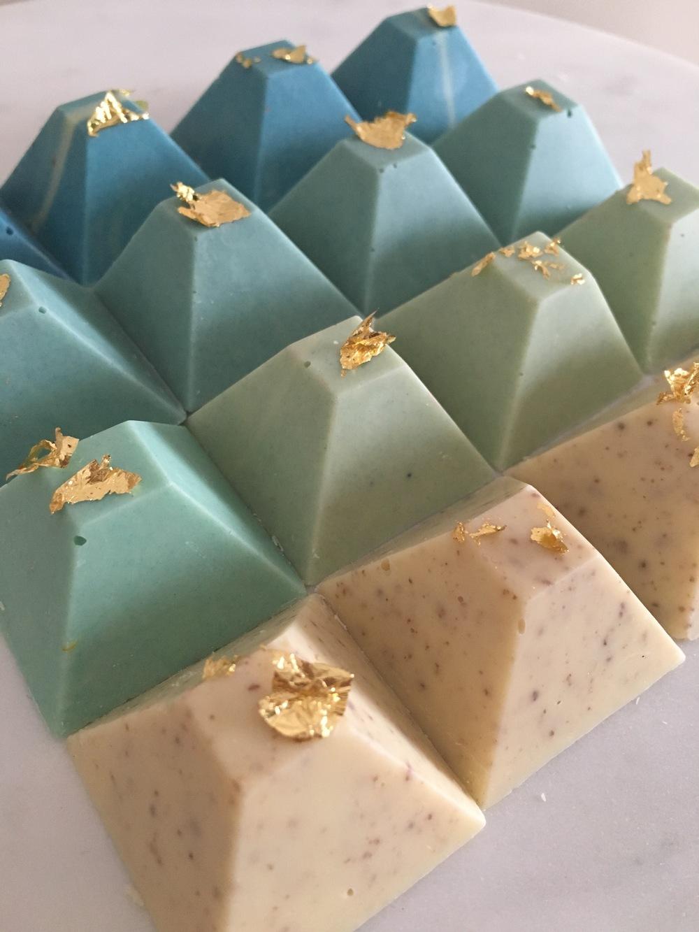 Ombre blue chocolate pyramids