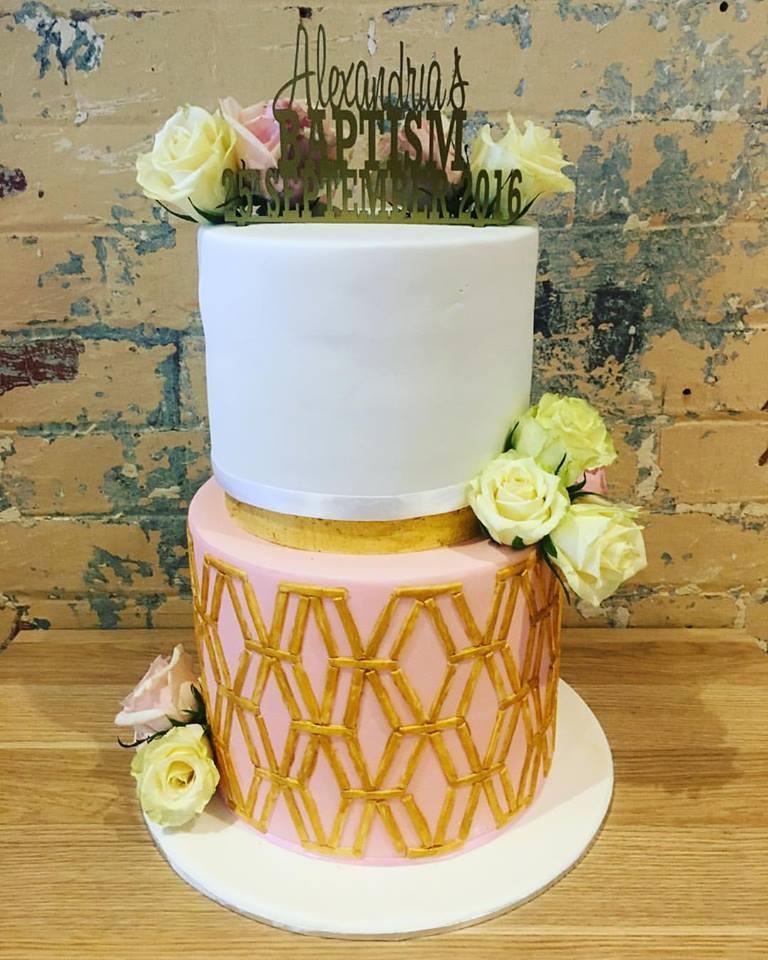 Geometric Baptism Cake