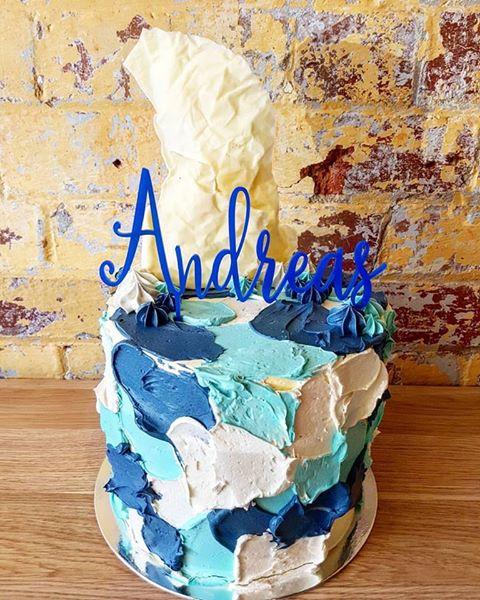 Navy blue camouflage cake