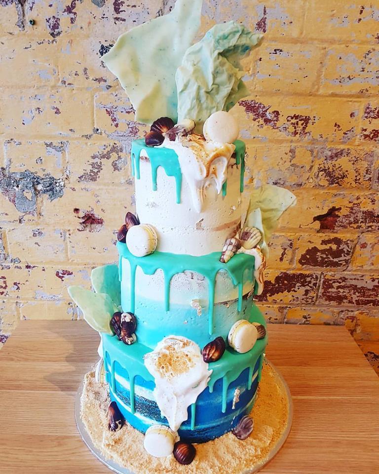 3 tier aqua drip cake